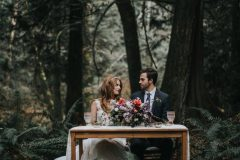 Couple at Forest Sweetheart Table