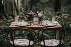Sweetheart table with Forest backdrop