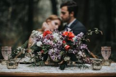 Purple, Red, Greenery Wedding Centerpiece