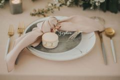 Modern Wedding place setting - White and Grey