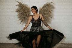 Bride Dancing with Pampas Grass Wings
