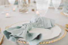Dusty Blue, White and Gold Event Place setting